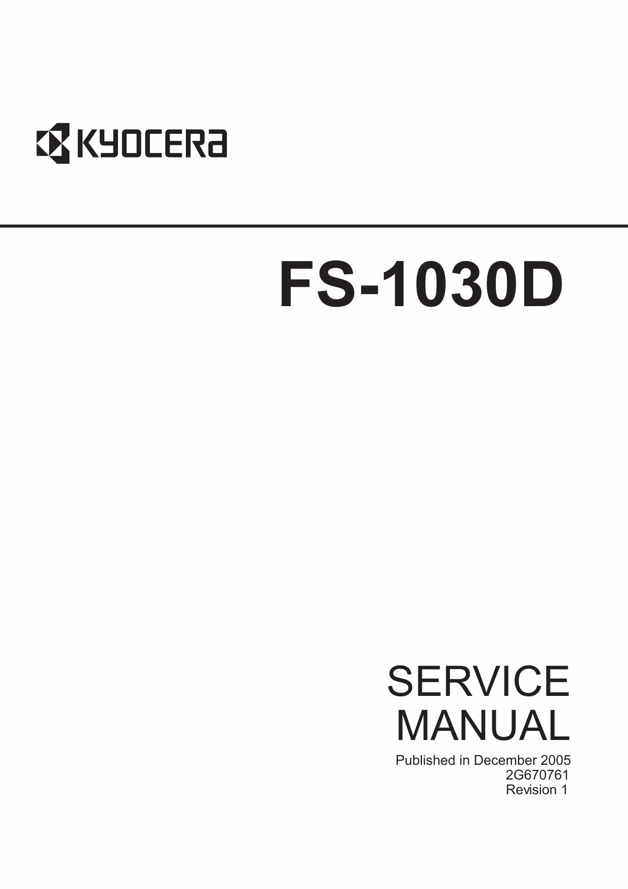 KYOCERA LaserPrinter FS-1030D Parts and Service Manual